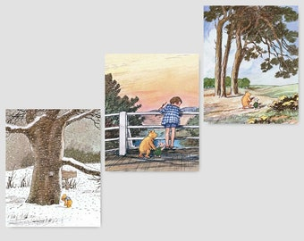 "Classic Winnie the Pooh Baby Shower (Pooh and Piglet Nursery, Boys Wall Prints, Girls Room Art) ""Visiting Best Friends"" -- Set of 3 SALE"
