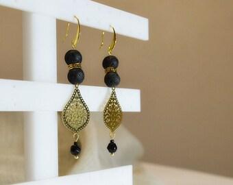 Gold filigree drops greek meander and basalt beads