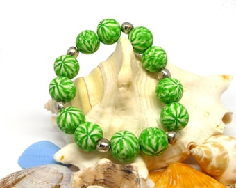 Green Polymer Clay and Silver Bead Stretch Bracelet