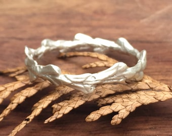 Twig Ring - conifer leaf band ring, wedding ring, stacking ring, cast from conifer leaf