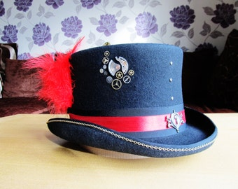 Dead Red Steampunk Top Hat