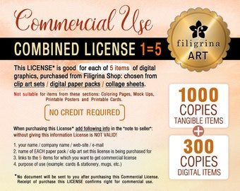 Combined COMMERCIAL LICENSE. Up to 1000/tangible + 300/digital copies for each of 5 listings / clip art, digital paper, collage sheets