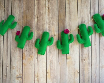 Cactus Garland - Felt Cactus Decor- Cactus Room Decor - Photo Prop-Cactus Nursery - Birthday Garland - Western Garland - Felt Garland