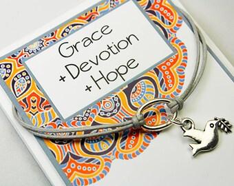 Wish Bracelet  -Dove Charm Bracelet - Intention Bracelet - Friendship Dove Bracelet - INT018