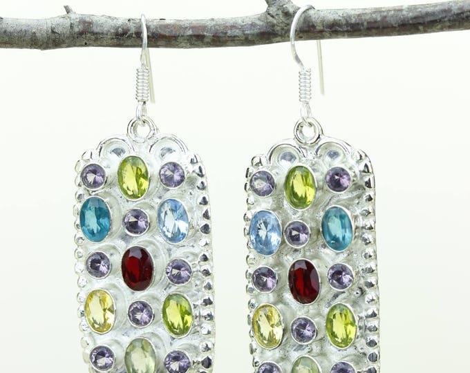 Garnet Peridot Citrine Blue Topaz Amethyst 925 SOLID (Nickel Free) Sterling Silver Italian Made Dangle Earrings e670
