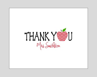 Teacher Thank You Folded Note Cards ~ Personalized Teacher Gift