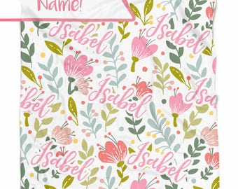 Spring Flowers personalized baby blanket with Name