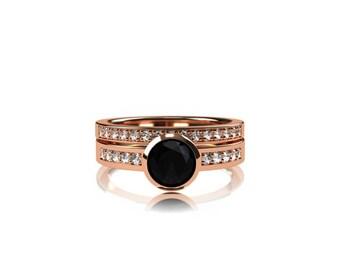 Black Spinel engagement ring set, rose gold ring, diamond wedding, bezel, half eternity ring, gothic engagement, black spinel solitaire