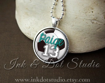 Personalized Necklace, Custom Soccer Pendant Necklace, Personalized Soccer Necklace , Soccer Team, Soccer Mom, Soccer Ball
