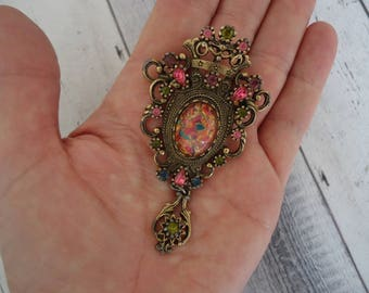 Vintage Sarah Coventry Contessa Glass Opal and Rhinestone Antique Brass Brooch/Pendant