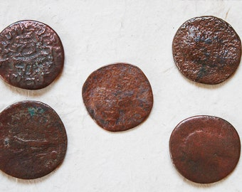 BUTTON SET 3 real Ancient Roman Coin Button - COIN