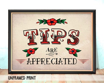 Tattoo Studio Decor - Tattoo Parlor Sign - Tattoo Artist Gift - Fathers Day Gift - Tattoo Tips Sign - Graduation Gift - Mothers Day Gift