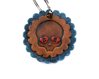 Personalized Keychain Day of the Dead Embossed Leather