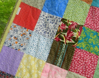 Patchwork Quilt, Funky Random --lap size--54X81--all cotton blanket, scrappy, traditional, vintage vibe, farmhouse quilt