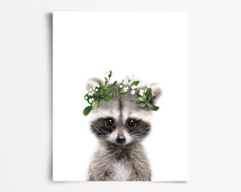Baby raccoon print, Flower crown, PRINTABLE decor, Forest animals, Woodland nursery, Girls room decor, Woodland baby shower, Flower wreath