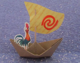 Hei Hei the Rooster Moana Party Birthday Boat Heihei Paper Boat Sailboat Cut Cupcake Cake Topper