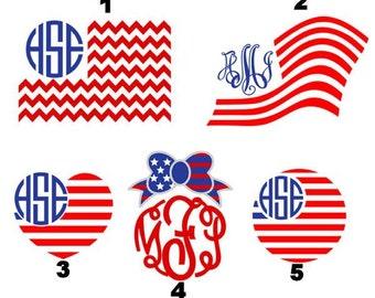American Flag Monogram - Patriotic Monogram - Red White Blue Monogram - Patriotic Monogram SVG - Patriotic Monogram HTV