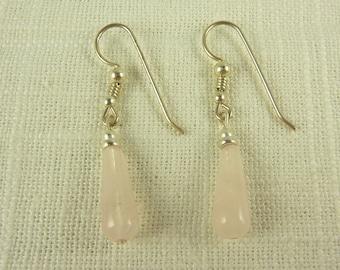 Vintage Sterling and Rose Quartz Dangle Earrings