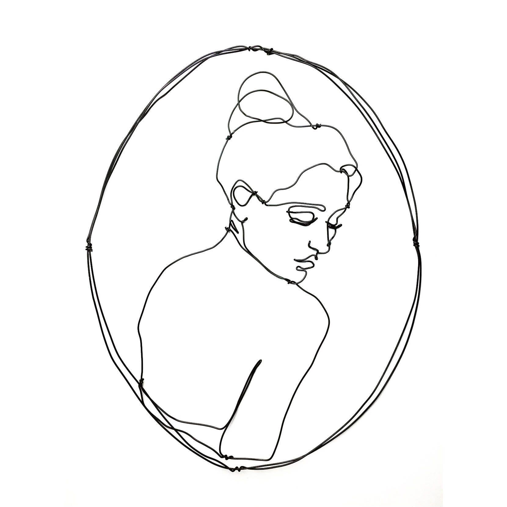 Draht-Wand-Kunst Frau rückblickend Portrait