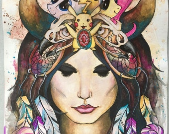 Modern Day Goddess original pen and ink acrylic and gouache painting on canvas 12x16 inches by Krisztina Lazar