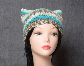 crochet winter cat hat, women cat ear hat, womens headwear, womens gift, fashion accessories