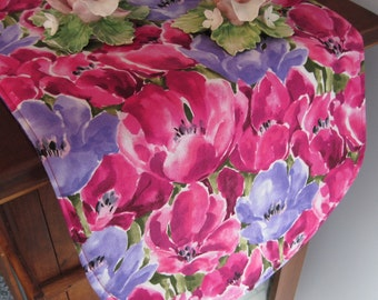 """36"""" Pink Tulip Table Runner Reversible Table Runner Purple Tulip Table Runner Pink Purple Table Runner Tulip table decor Easter Table Runner"""