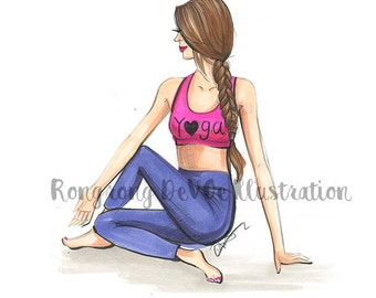 Yogi illustration,Yoga besties art, Yoga wall art, Yoga artwork, Fashion sketch, Gift for Yogi, Yoga lover gift, Yoga lover