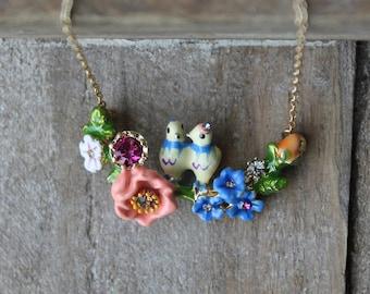 Love birds enamel necklace