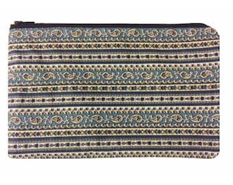 Cosmetic Bag, Pencil Bag, Floral Print Bag, Cotton Bag, Small Purse, Paisley and Stripe Print Bag