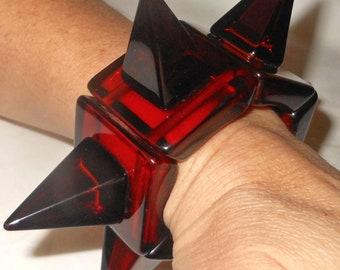 Sobral Lagerfeld Cones Retired Huge Runway Transparent Rootbeer Brown Punk Spike Bracelet