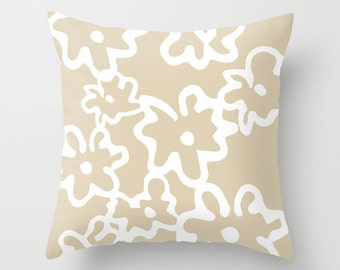 Modern Floral Pillow Cover - Tan and White - Flowers Accent Pillow - Abstract Flower Decorative Pillow - Neutral Decor includes insert