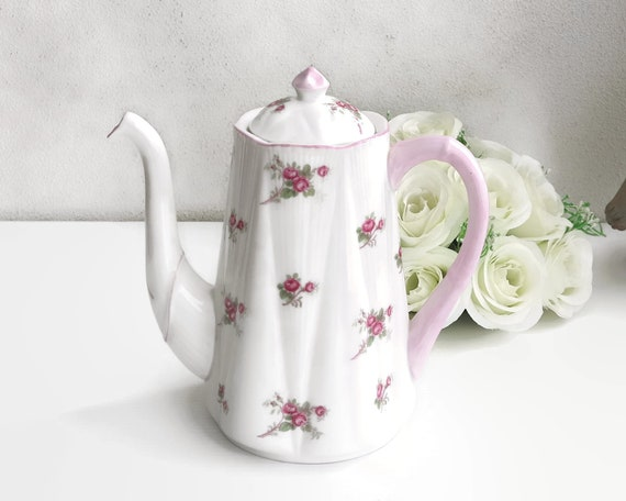 Vintage Shelley Bridal Rose coffee pot, Dainty shape with pale pink trim, white bone china, made in England, circa mid 20th century