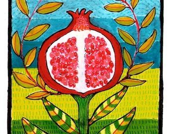 Pomegranate Love Folk Art Digital Giclée Wall Art Print