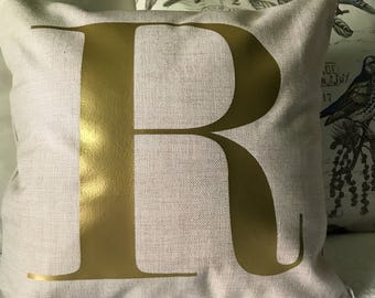 Gold Monogram Pillow