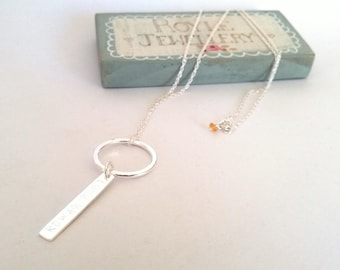 Personalised Sterling Silver Pendant with gemstone. Hand stamped // gift for her // new baby gift