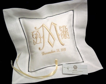 Monogrammed Ring Bearer Pillow, Personalized Ring Bearer Pillow, Irish Linen Ring Pillow, Custom Wedding Ring Cushion, Style 5201