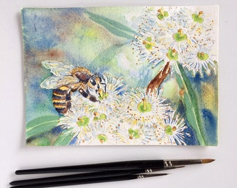 Original painting 5x7 honey bee & white eucalyptus blossoms, bee keeper gift, nature watercolour artwork, flying insect fine art