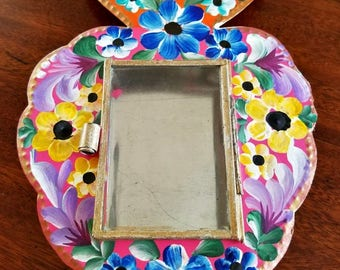 Artisanal Mexican Hand Painted Tin Frame