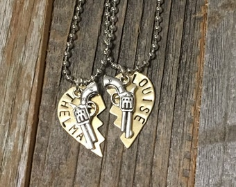 Metal Hand Stamped Thelma & Louise Necklace Set. Two necklaces.