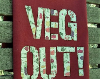 Veg Out Towel Veggie Towel Veggie Tales Farmers Market Towel Farm Style Towel Vegetable Garden Maroon Towel Vegetarian Vegan Cook Foodie