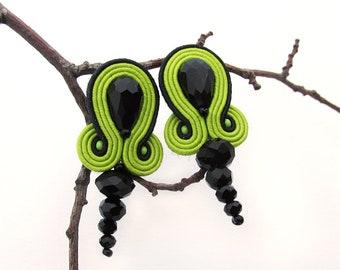 Lime green earrings Bright earrings Summer earrings Funky earrings Black green earrings Soutache earrings Cute earrings gift girlfriend