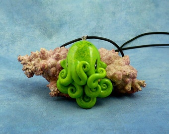 Green Moss Octopus Necklace, Handmade Polymer Clay Jewelry