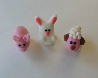 Fondant Farm Animals Cake or Cupcake Toppers - Pig, Sheep and Rabbit