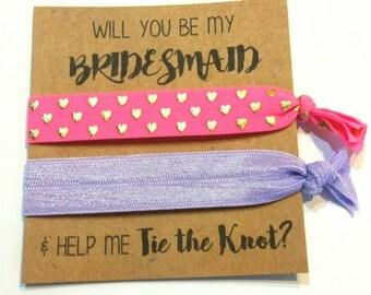 Elastic Hair Tie, Hair Tie Favors, Bachelorette Hair Tie Favor, Bridesmaid Favor - Help Me Tie The Knot- Knot Hair Ties YOU CHOOSE COLORS!
