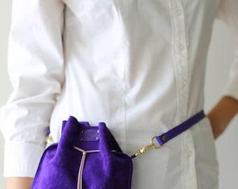 Purple Bag, Hip Bag, Utility Belt, Leather Waist Bag, Violet Bag, Suede Bag, Designer Bag, Bum Bag, Leather Belt Bag, Fashion Bag, Belt Bag