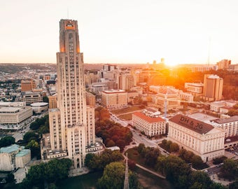 Cathedral of Learning Victory Lights at Sunset (University of Pittsburgh, Pitt, Pittsburgh Photography)