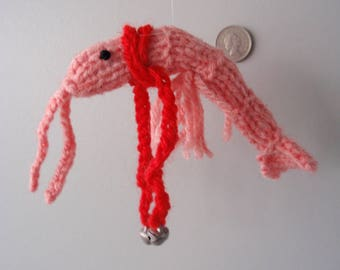 Christmas shrimp hand knitted with long red scarf and silver bells ....long feelers