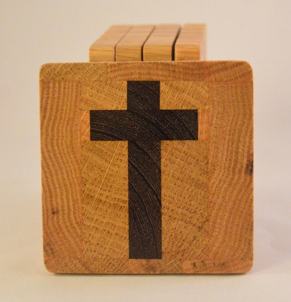 Oak Coasters with Imbedded Wenge Cross (MC006a)