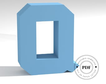 Printable DIY template (PDF).  Letter Q low poly paper model template. 3D paper lettering. Origami. Papercraft. Cardboard alphabet.