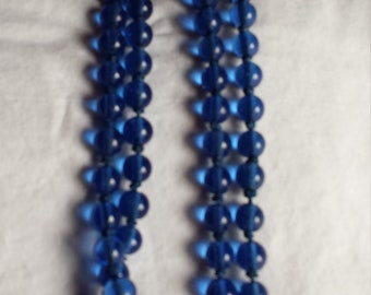 Vintage Hand Knotted Cobalt Blue Glass Beads Necklace